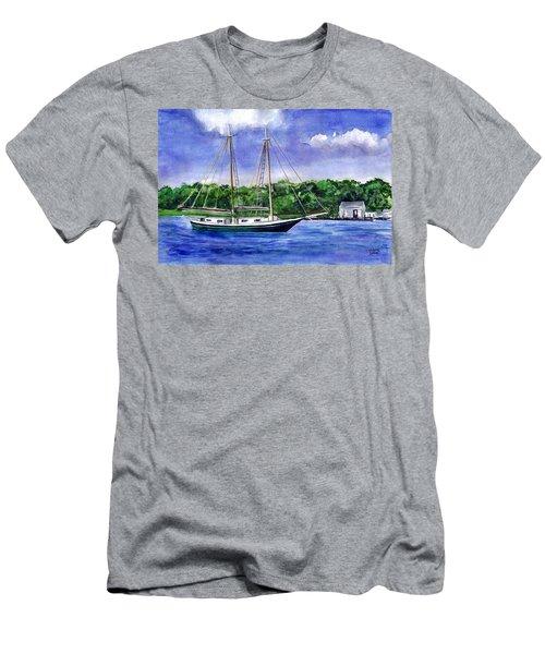 Men's T-Shirt (Slim Fit) featuring the painting Cedar Beach Schooner by Clara Sue Beym