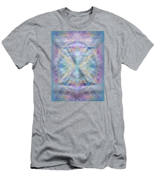 Men's T-Shirt (Slim Fit) featuring the digital art Chalice Of Vorticspheres Of Color Shining Forth Over Tapestry by Christopher Pringer