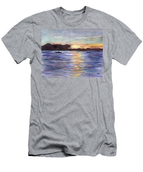 Men's T-Shirt (Slim Fit) featuring the painting Chesapeake Dusk Boat Ride by Clara Sue Beym