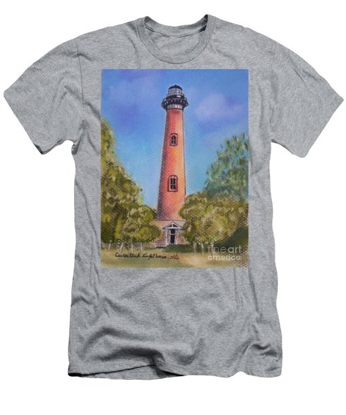 Men's T-Shirt (Slim Fit) featuring the pastel Currituck Lighthouse Nc by Julie Brugh Riffey