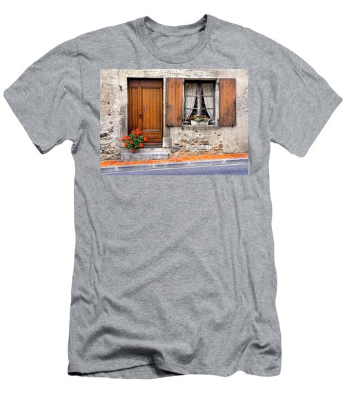 Men's T-Shirt (Slim Fit) featuring the photograph Doorway And Window In Provence France by Dave Mills