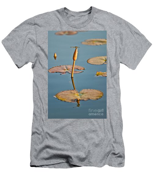 Men's T-Shirt (Slim Fit) featuring the photograph Dragonfly And Lotus by Luciano Mortula