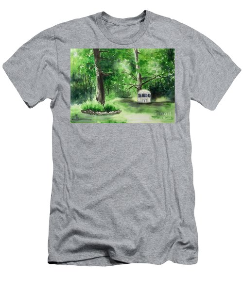 Men's T-Shirt (Slim Fit) featuring the painting Early Summer At The Geddes Farm --ann Arbor Michigan by Yoshiko Mishina