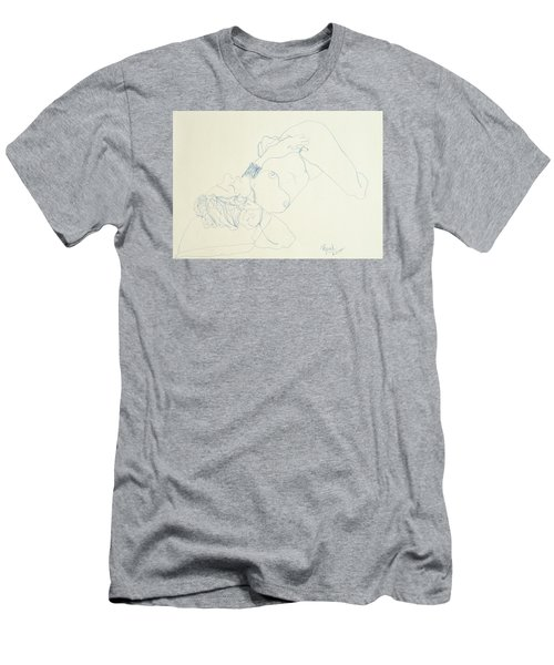 Female Nude In Blue Men's T-Shirt (Slim Fit) by Rand Swift