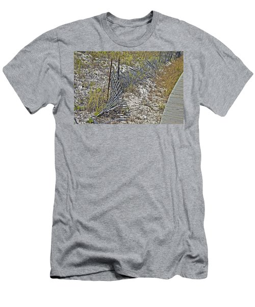 Men's T-Shirt (Slim Fit) featuring the photograph Fence And Boardwalk by Susan Leggett
