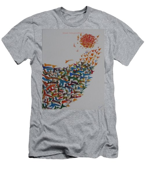 Men's T-Shirt (Slim Fit) featuring the painting Fleet Of Birds by Sonali Gangane