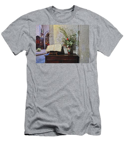 Men's T-Shirt (Slim Fit) featuring the photograph French Church Decorations by Dave Mills