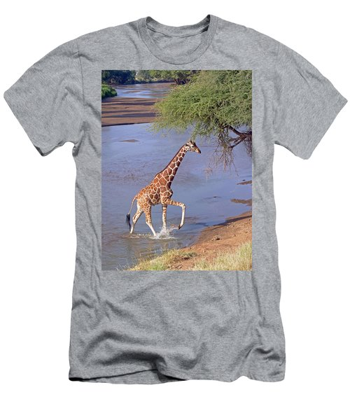 Giraffe Crossing Stream Men's T-Shirt (Athletic Fit)