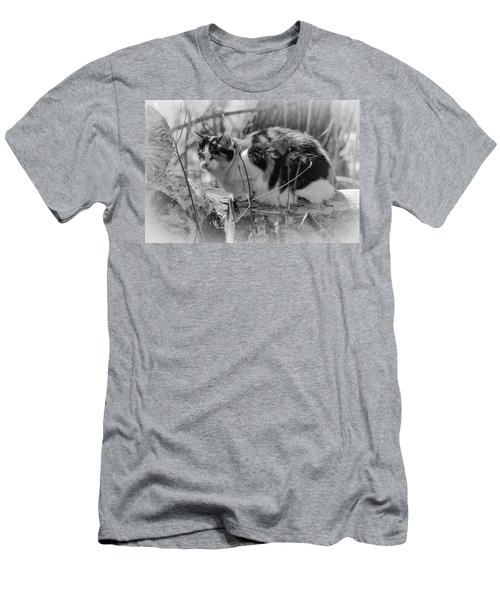 Men's T-Shirt (Slim Fit) featuring the photograph Hiding by Eunice Gibb