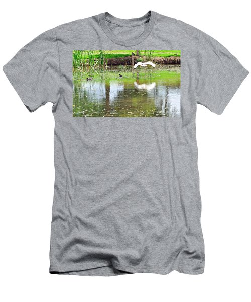 Ibis Over His Reflection Men's T-Shirt (Slim Fit) by Kaye Menner