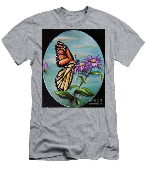 Men's T-Shirt (Slim Fit) featuring the painting Monarch And Aster by Karen  Ferrand Carroll