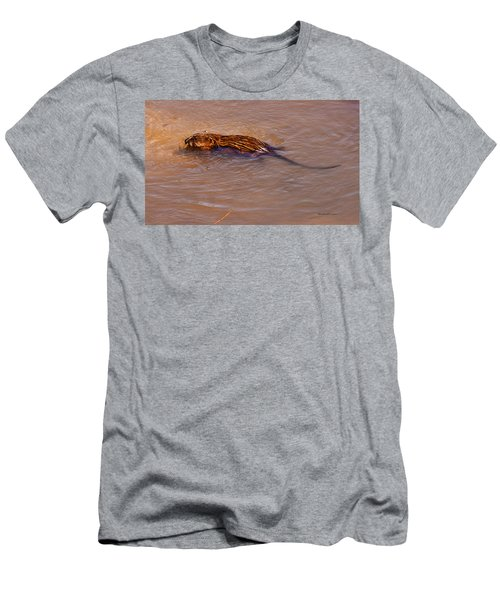 Muskrat Swiming Men's T-Shirt (Athletic Fit)