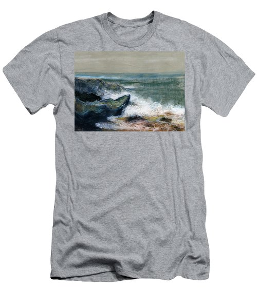 Nature Beach Landscape Of Sea In Storm Blue Green Water White Wave Breaks On Rock Clouds In Sky  Men's T-Shirt (Slim Fit) by Rachel Hershkovitz