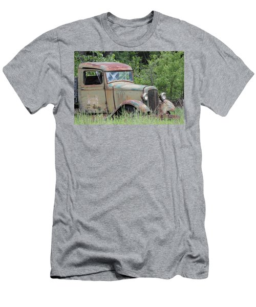 Abandoned Truck In Field Men's T-Shirt (Slim Fit) by Athena Mckinzie