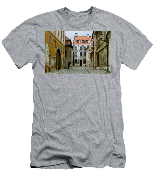 Men's T-Shirt (Slim Fit) featuring the photograph Old Street In Bratislava by Les Palenik
