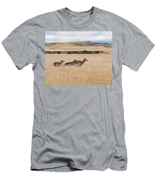 Men's T-Shirt (Slim Fit) featuring the photograph Pronghorn Antelopes On The Run by Art Whitton