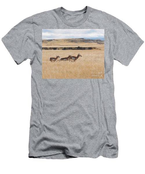 Pronghorn Antelopes On The Run Men's T-Shirt (Slim Fit) by Art Whitton
