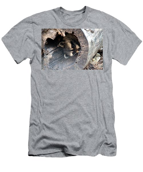 Men's T-Shirt (Slim Fit) featuring the photograph Raccoon In Hiding by Kathy  White