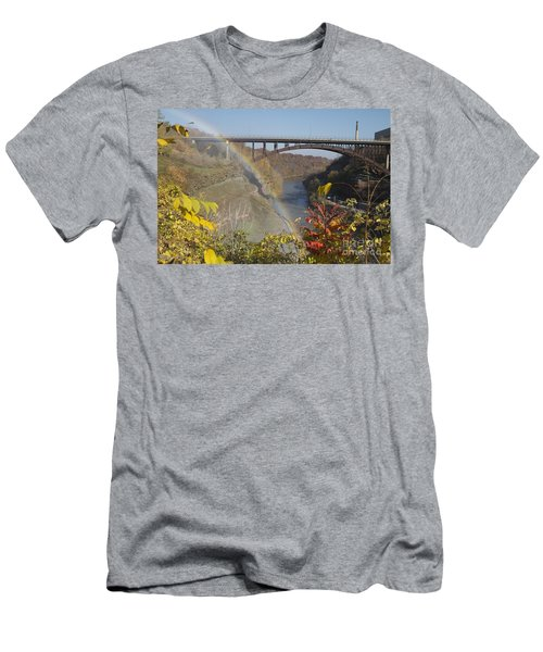Men's T-Shirt (Slim Fit) featuring the photograph Rainbow At Lower Falls by William Norton
