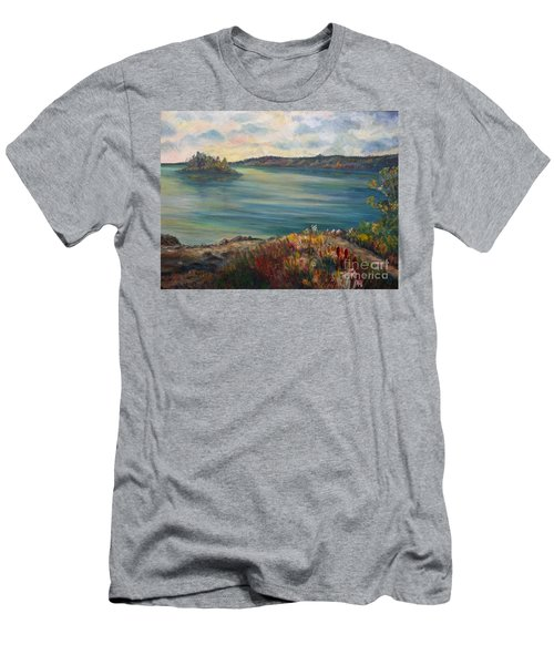 Men's T-Shirt (Slim Fit) featuring the painting Rainy Lake Michigan by Julie Brugh Riffey