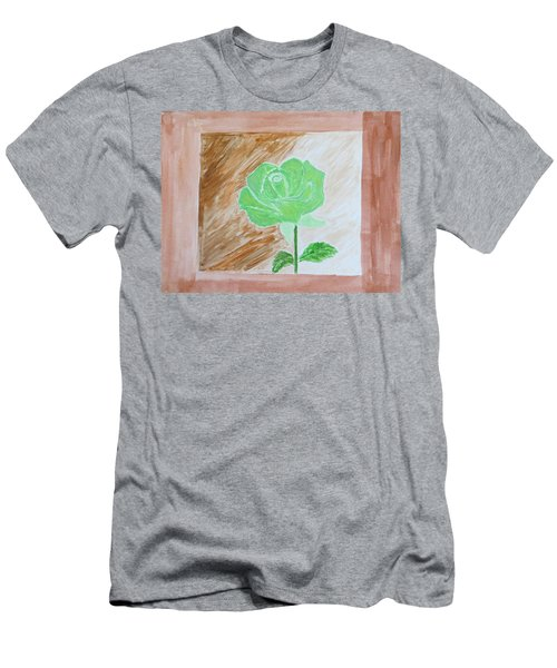 Men's T-Shirt (Slim Fit) featuring the painting Solitary Rose by Sonali Gangane