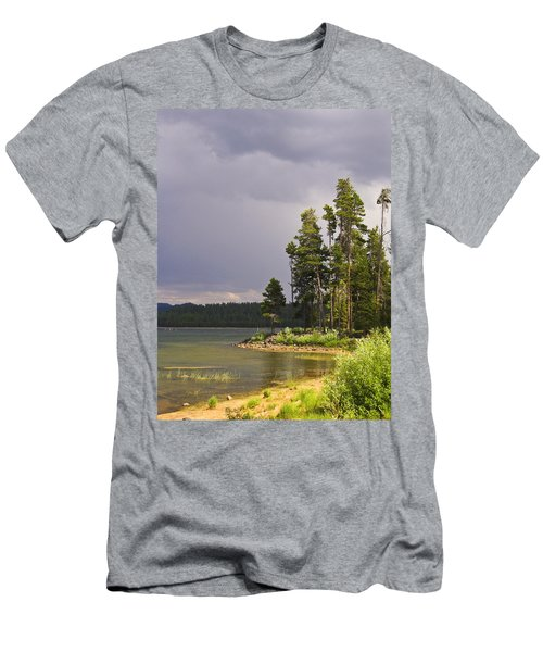 Storm Clouds Over A Lake Men's T-Shirt (Slim Fit) by Anne Mott