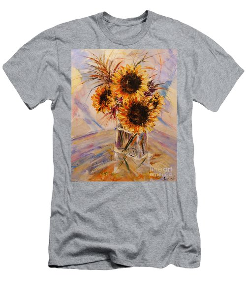Sunflowers Men's T-Shirt (Slim Fit) by Karen  Ferrand Carroll