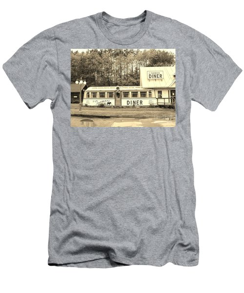 Men's T-Shirt (Slim Fit) featuring the photograph The Farmers Diner In Sepia by Sherman Perry