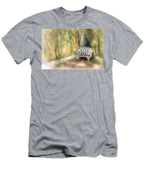 Men's T-Shirt (Slim Fit) featuring the painting The Garden Bench by Bonnie Willis