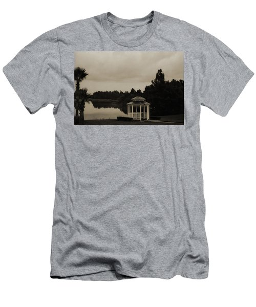 Men's T-Shirt (Slim Fit) featuring the photograph The Gazebo At The Lake by DigiArt Diaries by Vicky B Fuller