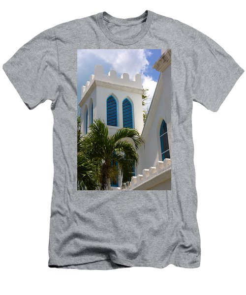 Men's T-Shirt (Slim Fit) featuring the photograph Trinity Presbyterian Church Tower by Ed Gleichman