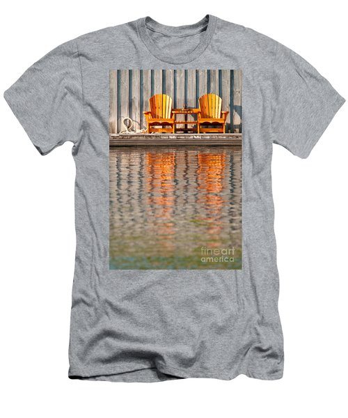 Men's T-Shirt (Slim Fit) featuring the photograph Two Wooden Chairs by Les Palenik