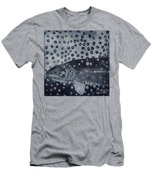 Unique Etching Artwork - Brown Trout  - Trout Waters - Trout Brook - Engraving Men's T-Shirt (Athletic Fit)