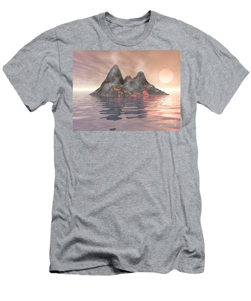 Men's T-Shirt (Slim Fit) featuring the digital art Volcano Island by Phil Perkins