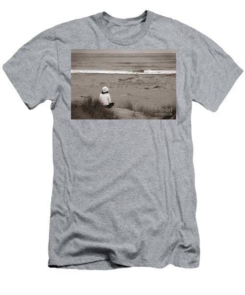 Watching The Ocean In Black And White Men's T-Shirt (Athletic Fit)