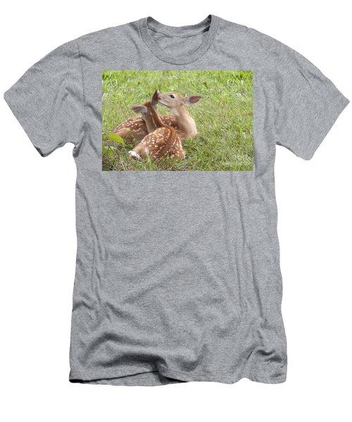 Whispering Fawns Men's T-Shirt (Slim Fit) by Jeannette Hunt