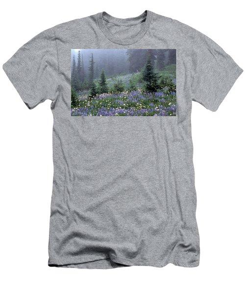 Wildflower Meadow Mt Rainier Men's T-Shirt (Athletic Fit)
