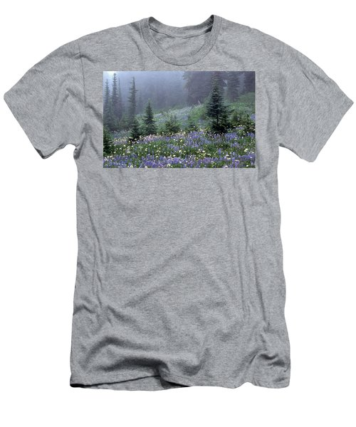 Wildflower Meadow Mt Rainier Men's T-Shirt (Athletic Fit)
