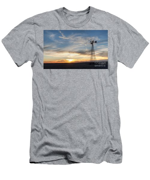 Windmill And Sunset Men's T-Shirt (Athletic Fit)