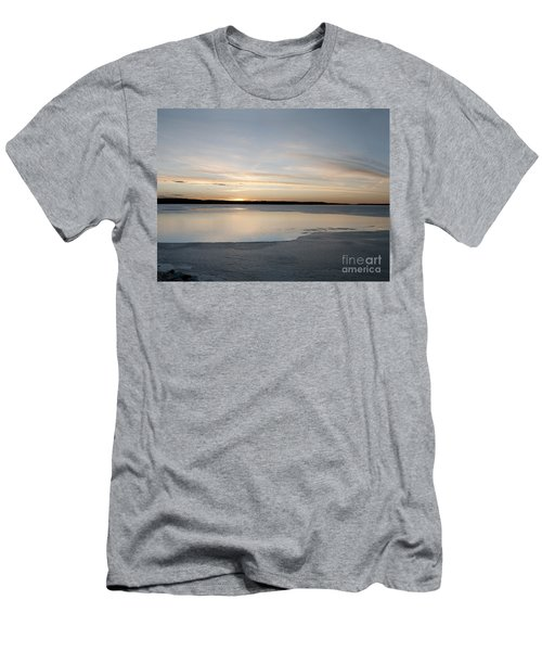 Men's T-Shirt (Slim Fit) featuring the photograph Winter Sunset Over Lake by Art Whitton