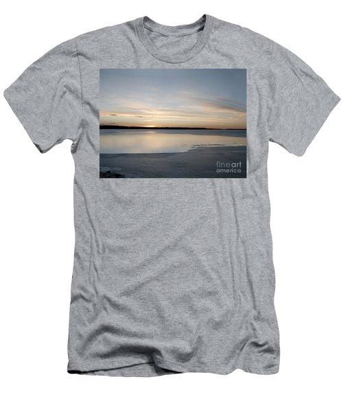 Winter Sunset Over Lake Men's T-Shirt (Slim Fit) by Art Whitton