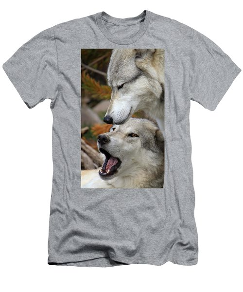 Men's T-Shirt (Slim Fit) featuring the photograph Wolf Talk by Steve McKinzie