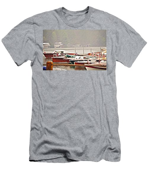 Wood Boats In The Rain Men's T-Shirt (Athletic Fit)