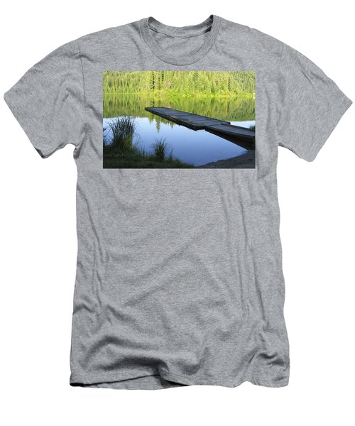 Wooden Dock On Lake Men's T-Shirt (Slim Fit) by Anne Mott
