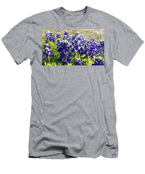 Men's T-Shirt (Slim Fit) featuring the painting  Bluebonnet Morning by Karen Kennedy Chatham
