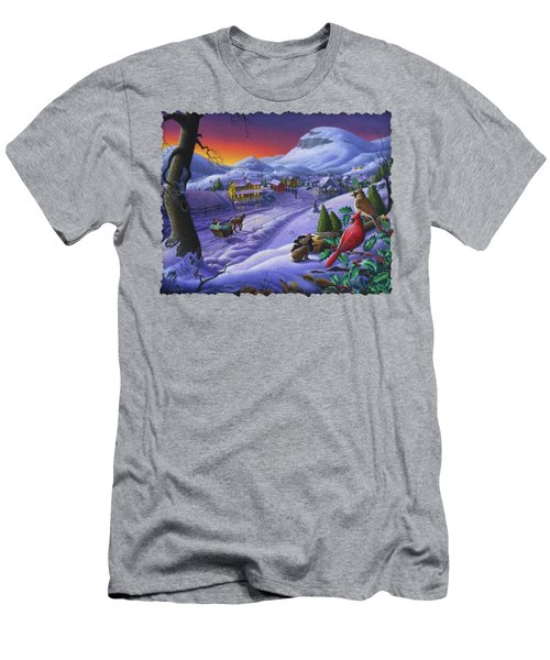 Christmas Sleigh Ride Winter Landscape Oil Painting - Cardinals Country Farm - Small Town Folk Art Men's T-Shirt (Slim Fit) by Walt Curlee