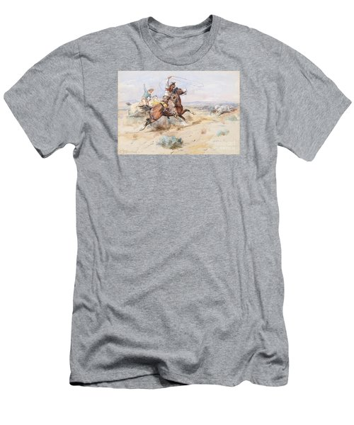 Roping A White Wolf  Men's T-Shirt (Athletic Fit)