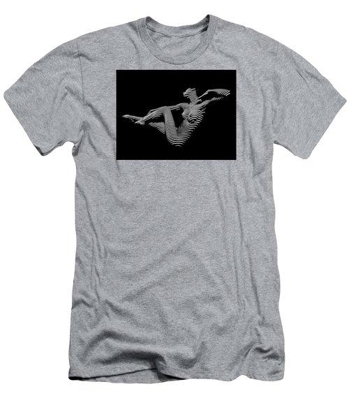 0043-dja Bw Zebra Woman Striped Girl Topographic Abstract Sensual Body Art Men's T-Shirt (Slim Fit) by Chris Maher