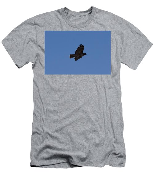 Men's T-Shirt (Athletic Fit) featuring the photograph Red Tail Hawk Male Tower Rd Denver Co 0898 by Margarethe Binkley