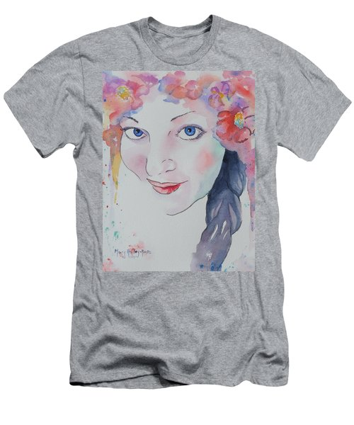 Men's T-Shirt (Slim Fit) featuring the painting Alisha by Mary Haley-Rocks